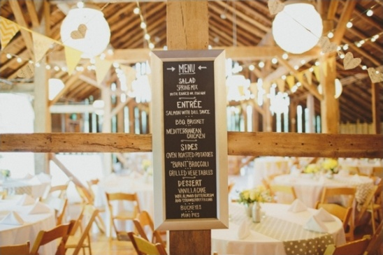 cute chalkboard wedding menu