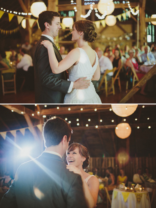 wedding dancing in a barn