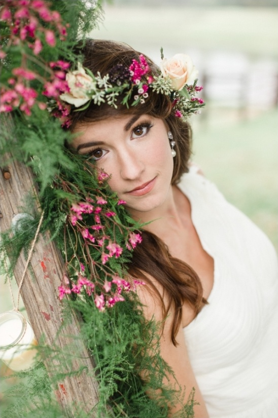 barely there wedding makeup and floral crown