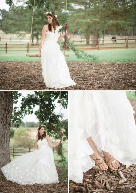 glam gold sandles peeking out from under ruche dress