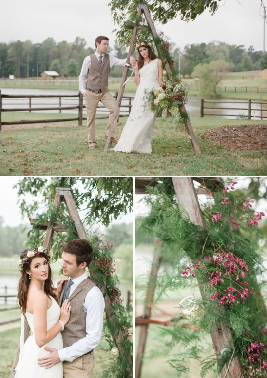 repurposed antique ladder turned into a wedding arch with floral garlands