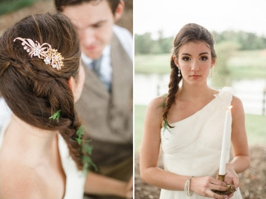 wedding braid with gold comb and feathered greenery
