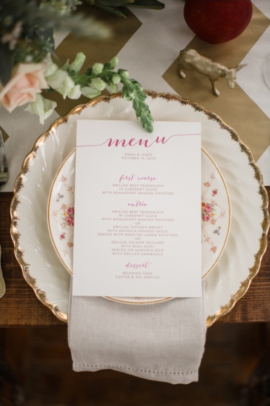 pink and gold menu on vintage china