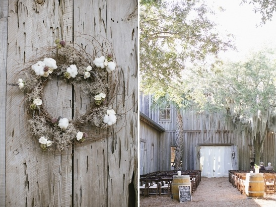 cotton wreath wedding ceremony decor