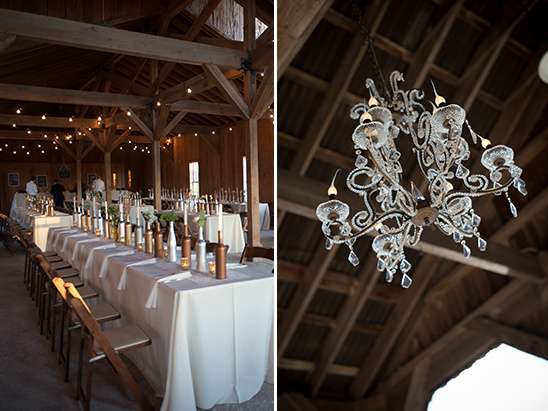 glam chandelier at barn reception