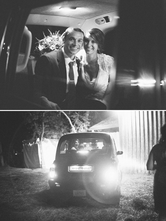 just married and getaway car