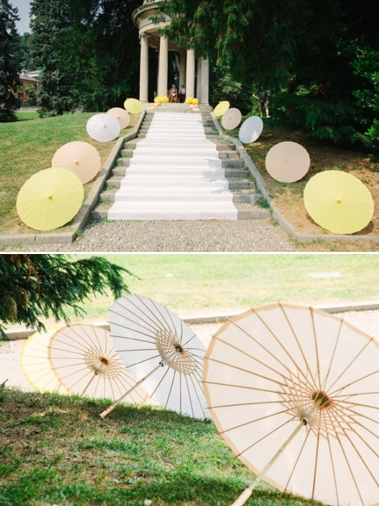 umbrella lined path