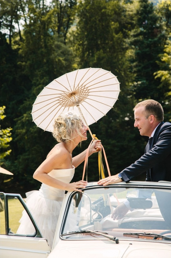classic vw wedding getaway car