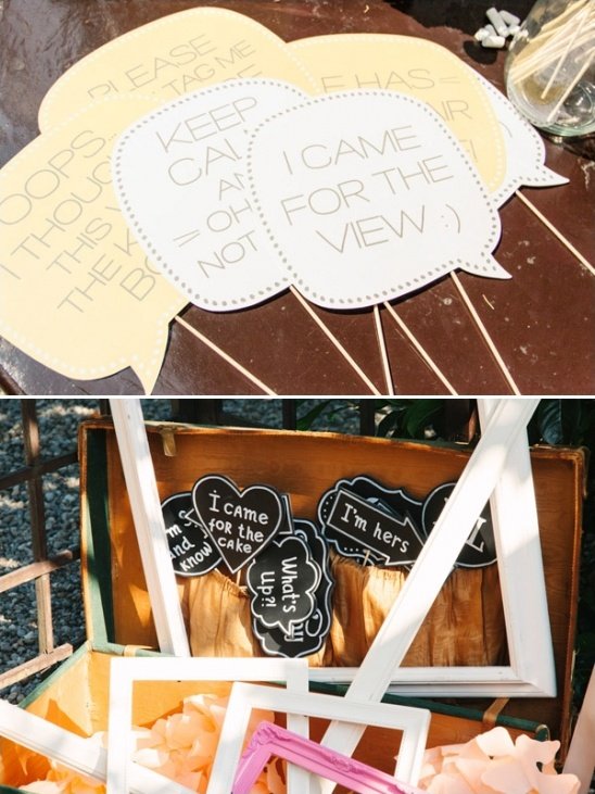 speech bubbles and photobooth props