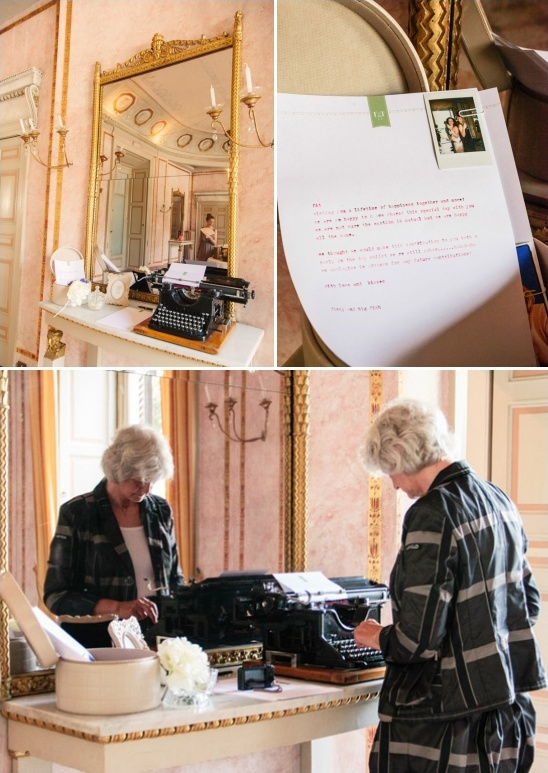 guests can leave typed wishes for the couple on an antique typewriter