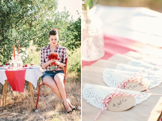 red and white reception ideas