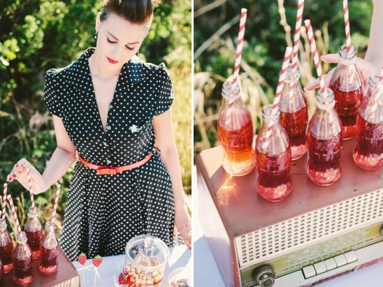 use vintage radio for dessert table decor