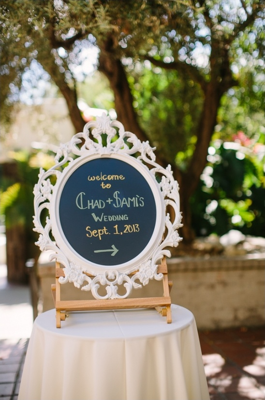 elegant framed chalkboard wedding sign