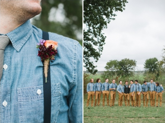 denim shirt and suspender groomsmen look