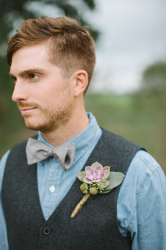 succulent boutonniere and bow tie groom look