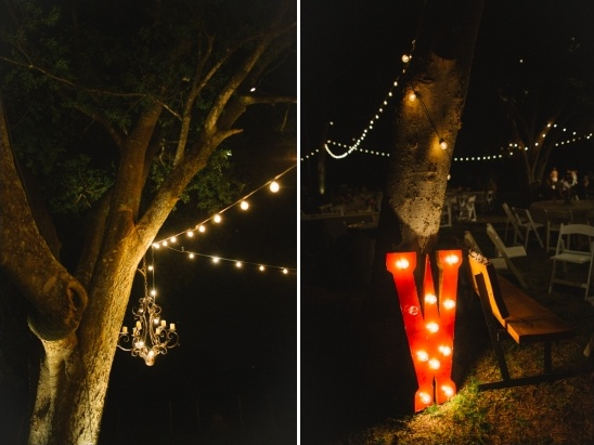 chandelier and light up monogram what a bright idea for an outdoor reception