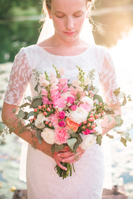 pink and white bridal bouquet by lammscapes