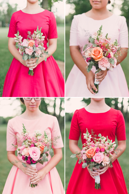 50s inspired bridesmaid dresses in coral