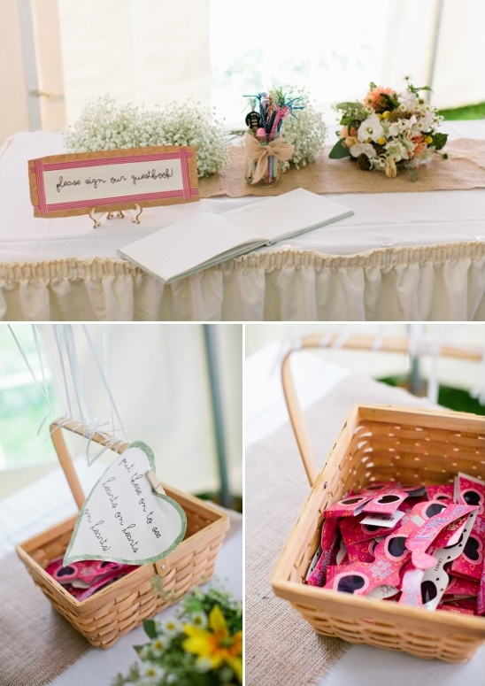 guestbook table and fun heart glasses for guests