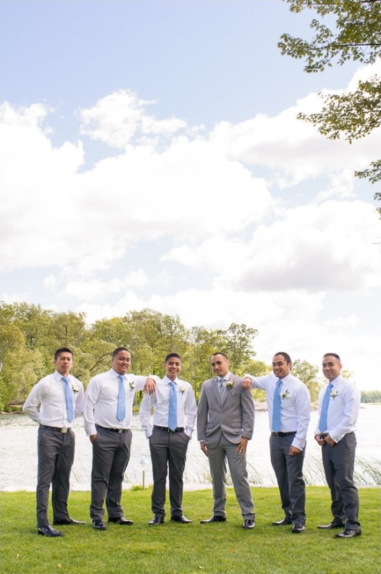 grey and light blue groomsmen look