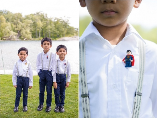 ring bearers with lego men boutonnieres