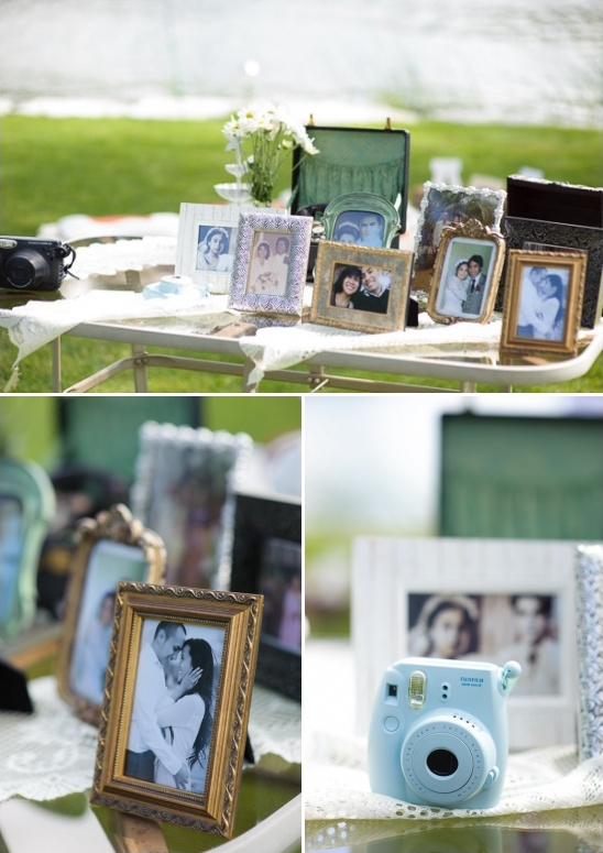 welcome table and instant photo guestbook station
