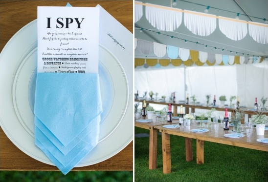 I spy wedding table game