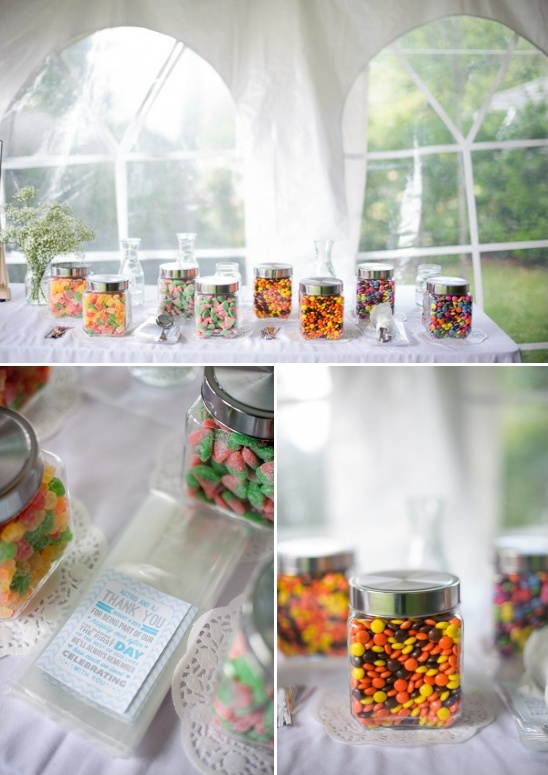 candy table and wedding thank you notes