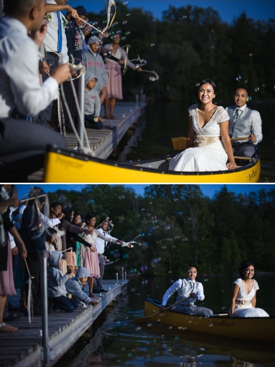 canoe wedding exit with streamers and bubbles