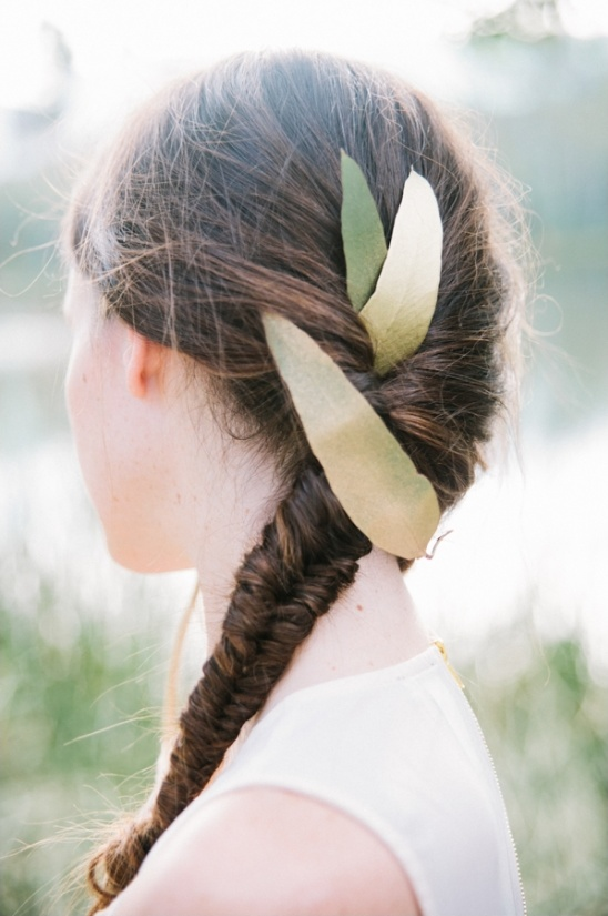 fishtail braid with gold eucalyptus leaves