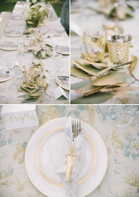 table decor in gold and green