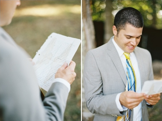 reviewing his wedding vows