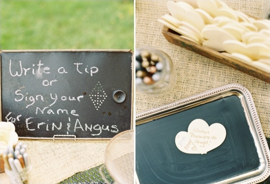 have guests sign little hearts or leave you helpful tips