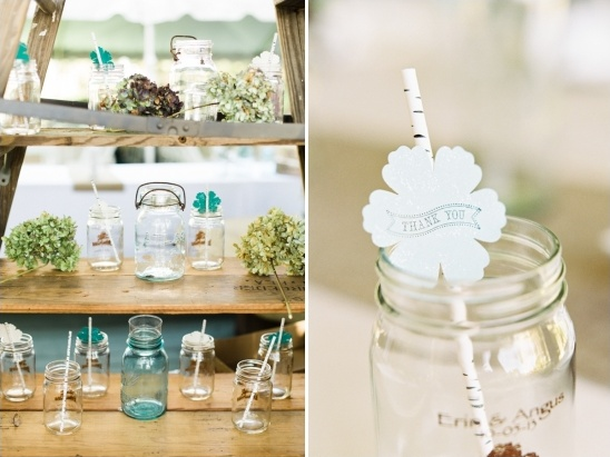 wedding favor mason jars with thank you straw tags