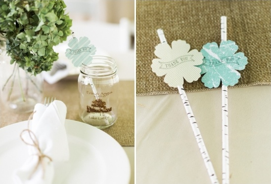 simple burlap and white plate table setting with birch paterned straws
