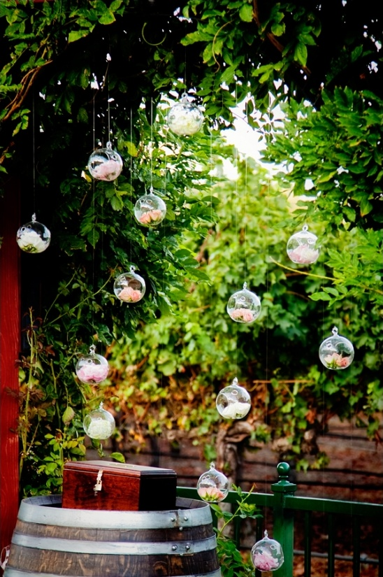 clear glass ornaments with flowers inside