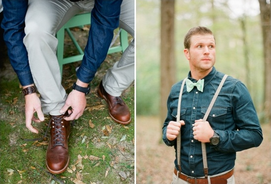 suspenders and bow tie groom look