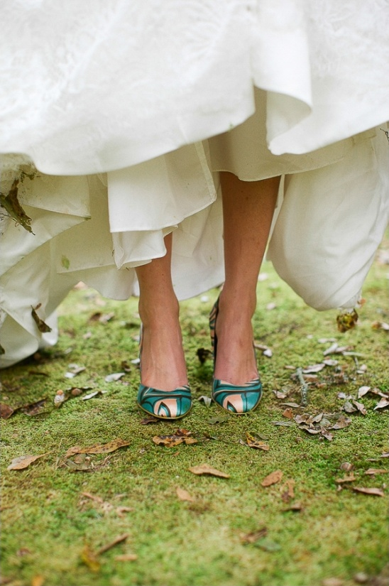 peach and blue wedding shoes