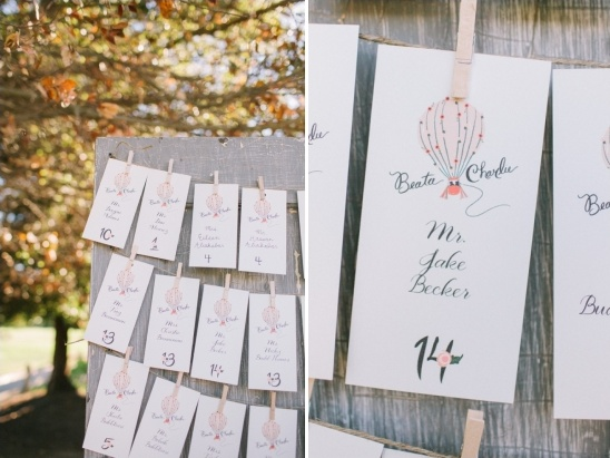 hot air ballon escort cards