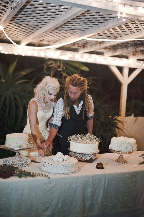 all white cake table