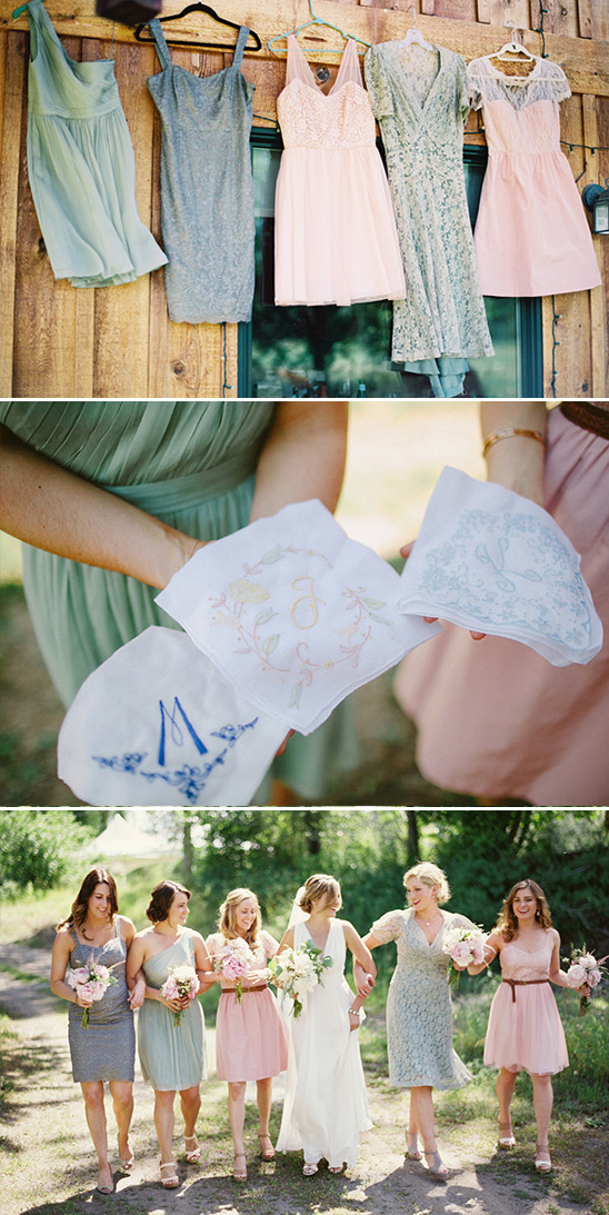 mismatched bridesmaids dresses and customized handkerchiefs