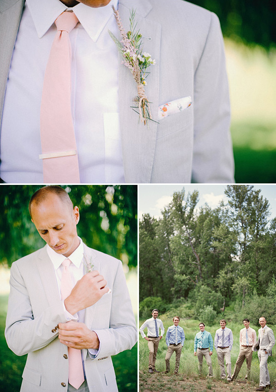 grey suit pink tie groom look