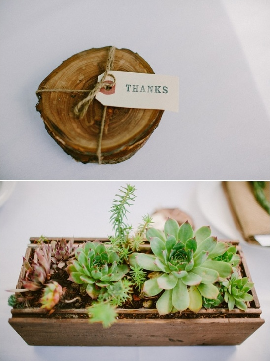 rustic coaster wedding favors and succulent centerpiece