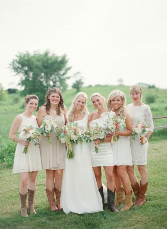 mismatched white bridesmaids in cowboy boots