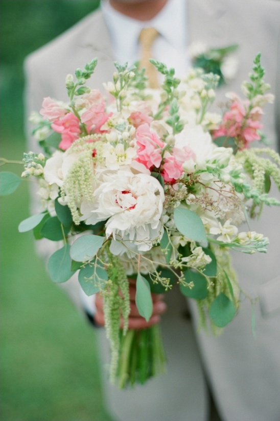 white pink and green bouquet