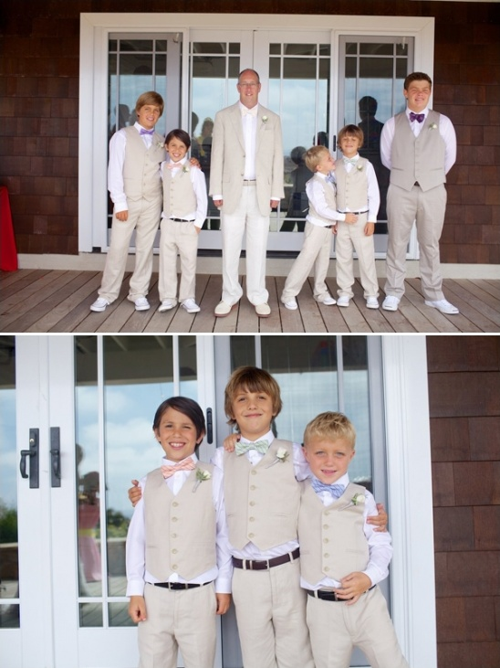 the groom and his men in beige suits and bow ties