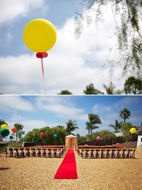 balloons and bright colors for a carnival themed wedding