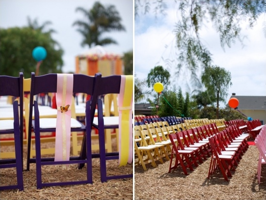 brightly colored folding chairs make a fun statement