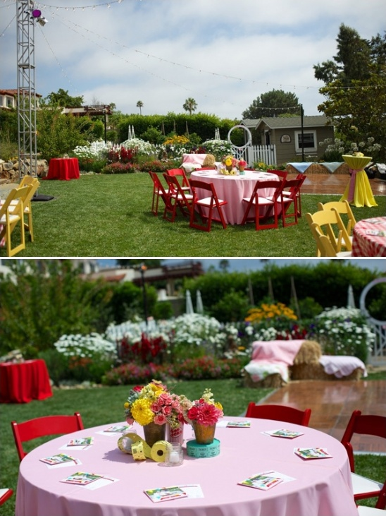 carnival themed wedding reception bright colors are a must