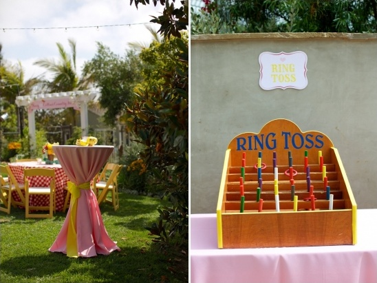 ring toss game at carnival themed wedding